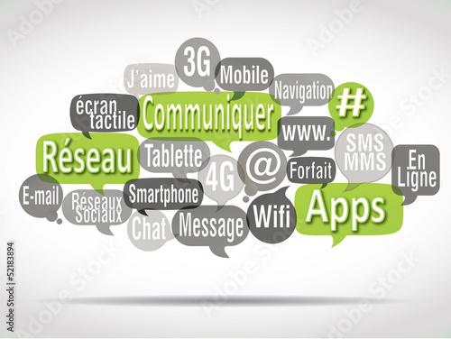 nuage de mots bulles vertes anis : communiquer