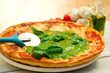 pizza with pesto sauce