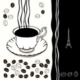 Cup of hot coffee with coffee beans.Black-and-white background.