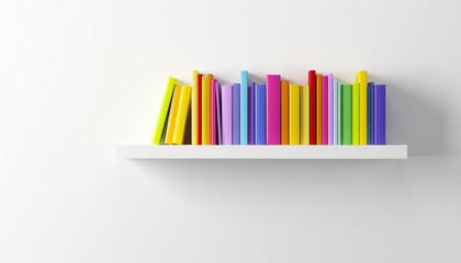 shelf with multicolored books
