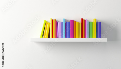 shelf with multicolored books