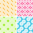 Set of four bright seamless geometrical retro patterns