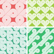 Set of four vintage seamless geometrical retro patterns