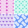 Set of four abstract seamless geometrical retro patterns