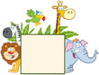 Jungle Animals Behind A Blank Sign With Leaves