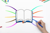Drawing educational mind map with book and colorful branches