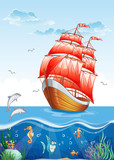 Illustration of a sailboat with red sails.