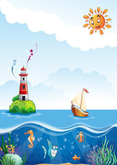 Illustration of a lighthouse and the underwater world