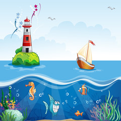 Children's illustration with lighthouse and sailboat.