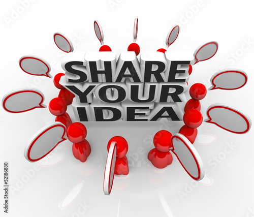 Share Your Idea Creative People Discussing Solution Problem