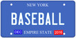 Baseball New York License Plate