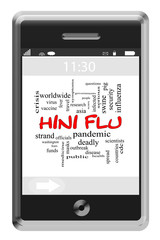 H1N1 Flu Word Cloud Concept on Touchscreen Phone