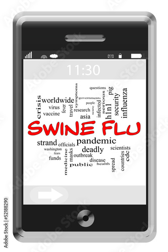 Swine Flu Word Cloud Concept on Touchscreen Phone