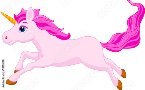 Cute unicorn cartoon running