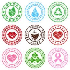 Vector illustration of a set of grunge stamps