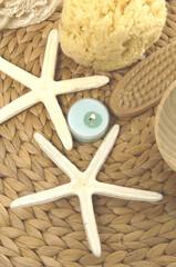 bath objects on woven mat