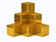 Illustration of golden cubes isolated on white background