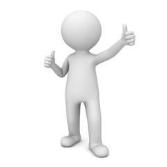 3D Man Showing Like Thumbs Up isolated over white background