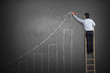 business man standing on ladder drawing growth chart on wall