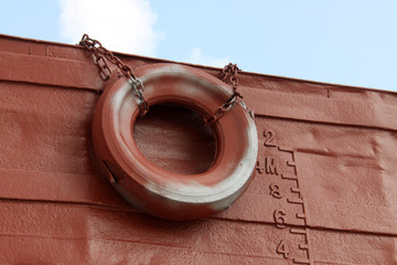 waterline and rubber tire marked on the ship
