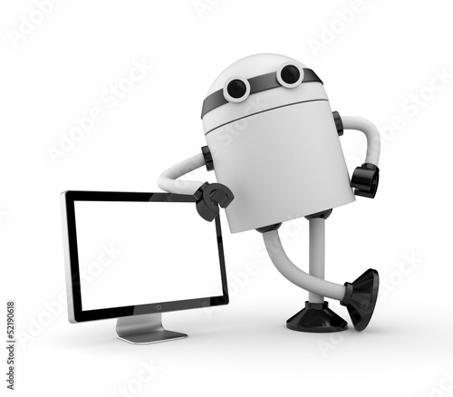 Robot leaning on monitor