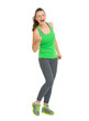 Full length portrait of happy fitness woman rejoicing success