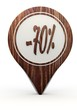 3d render of a icon discount sign on a set of wooden  markers