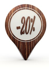 discount sign on a set of wooden  markers