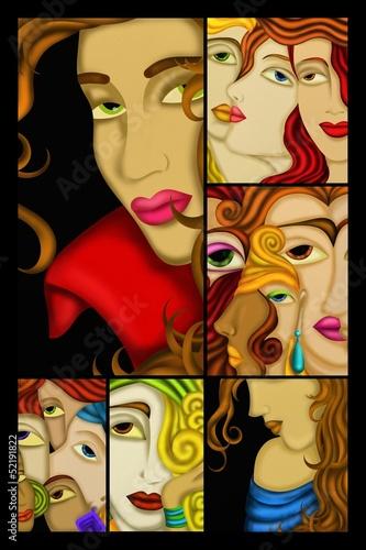 collage visi di donne