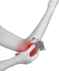 Ice on a swollen hurting elbow.