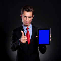 business man recommends tablet
