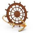 ship wheel and golden anchor