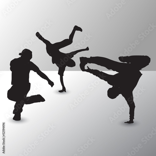 Collection of different break-dance silhouettes. Vector illustra