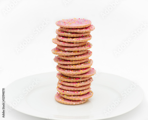 Stack of pink icing cookies