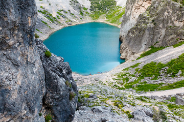 Imotski Blue Lake in Limestone Crater near Split, Croatia