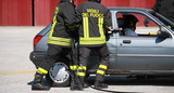 Firefighters freed a wounded trapped in car after a traffic acci