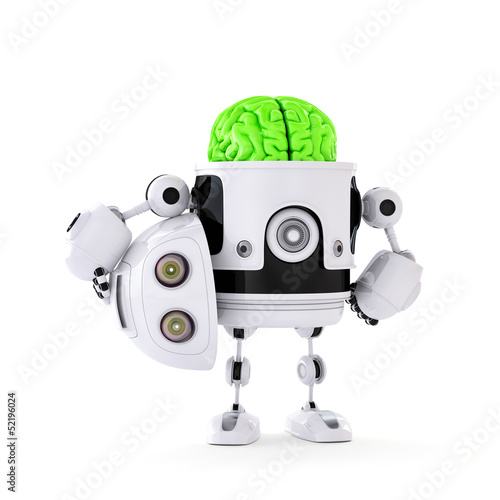 Android with huge green brain. Artificial intellect concept