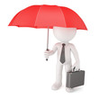 Businessman with umbrella. Safety concept