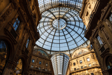 Glass Dome of Interior of Galleria Vittorio Emanuele II Shoping