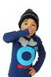 canvas print picture - Junge hält sich beim husten die Hand vor den Mund