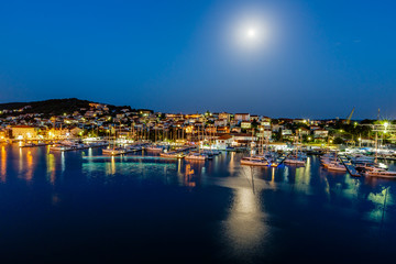 Aerial View on Illuminated Coast of Island Ciovo in the Night, C