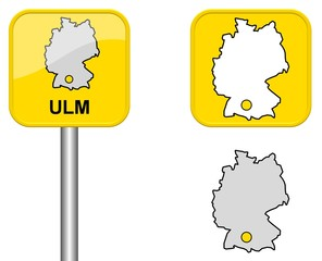 Ulm - Ortsschild, Button und Deutschlandkarte