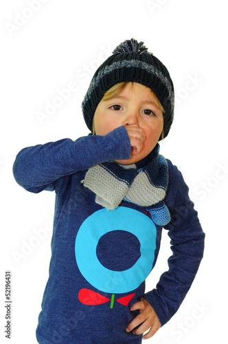 canvas print picture Junge hält sich beim husten die Hand vor den Mund