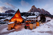 Ski Resort of Corvara at Night, Alta Badia, Dolomites Alps, Ital