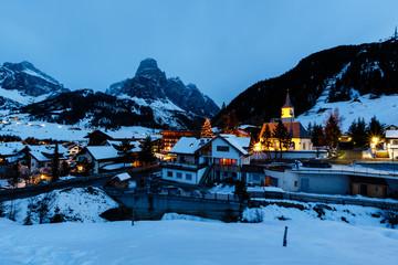Ski Resort of Corvara at Night, Alta Badia, Dolomites Alps, Ital