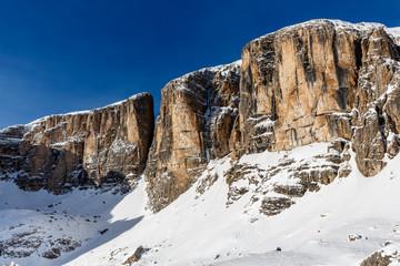 Peak of Vallon on the Skiing Resort of Corvara, Alta Badia, Dolo