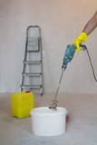 mixing glue with a power drill