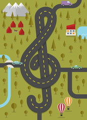 Road in the shape of treble clef. Vector illustration.