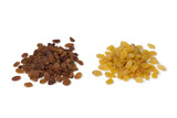 Heap of yellow and brown raisins