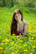 woman  relaxing outdoor in  meadow